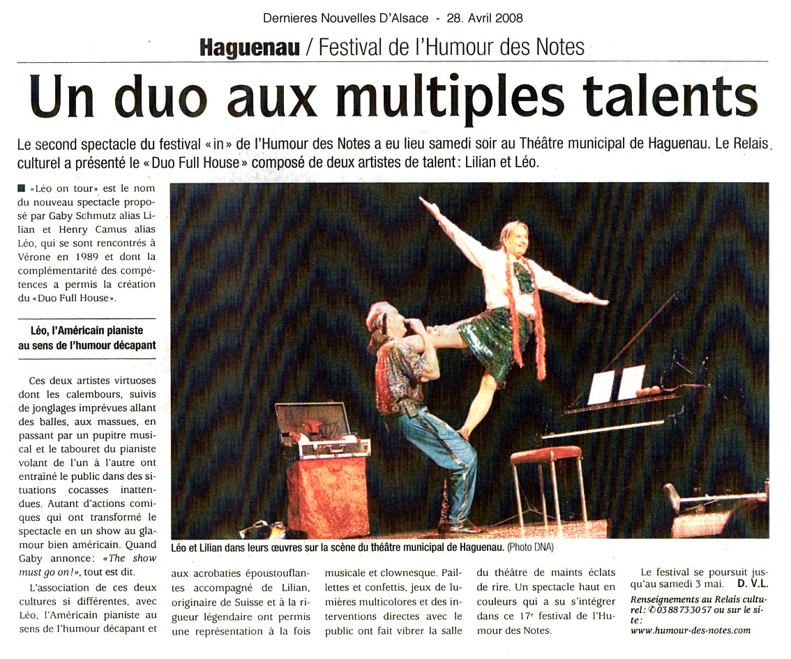 Press - Dernieres Nouvelles d'Alsace - Duo Full House